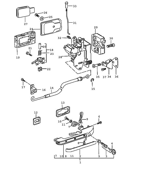 Door Deadlock Parts & Exploded View Of A Thumb-Piece Handle And regarding Car Door Lock Parts Diagram