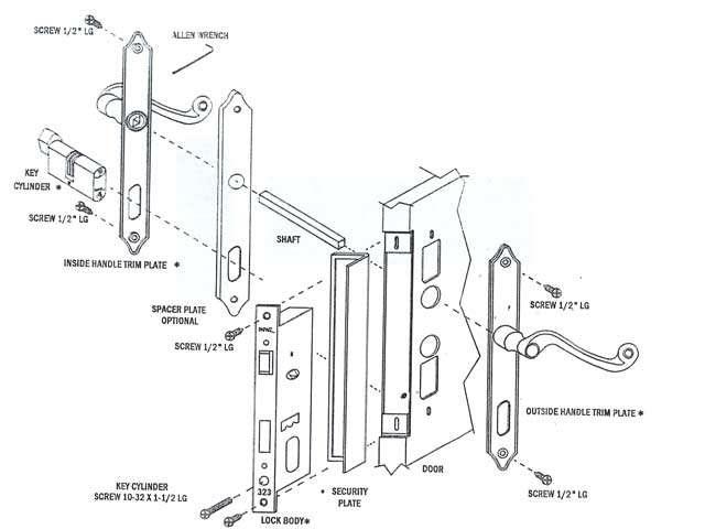 diagram of door lock parts