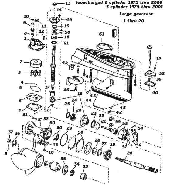 evinrude    johnson outboard parts drawings with 40 hp