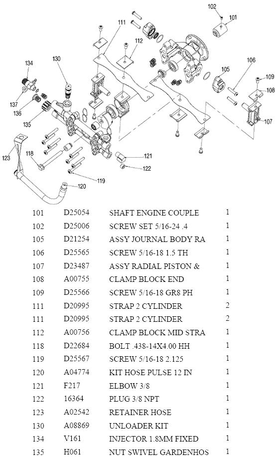Excell Pressure Washer Model Vr2522 Replacement Parts Repair Kits in Honda Pressure Washer Parts Diagram