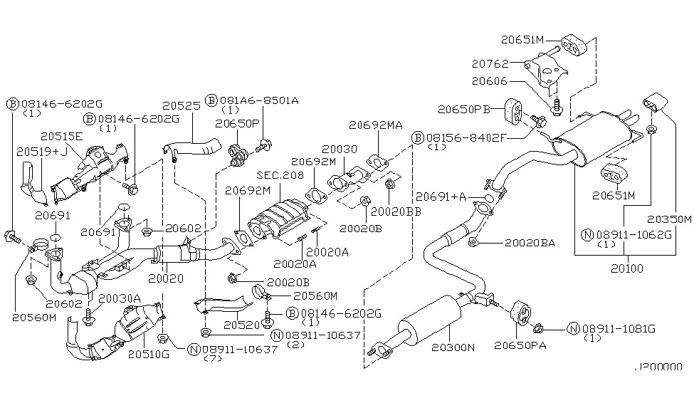 Exhaust Tube & Muffler For 2000 Nissan Maxima | Nissan Parts Deal with 2000 Nissan Maxima Parts Diagram