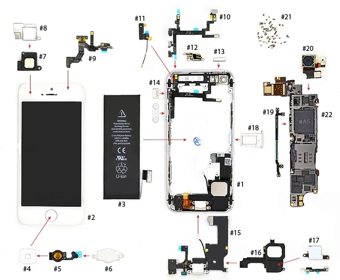 Exploded An Iphone 5 - Dok Phone throughout Iphone 4S Internal Parts Diagram