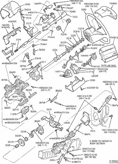 Exploded View For The 1996 Ford F 150 Non-Tilt | Steering Column inside Ford F150 Body Parts Diagram