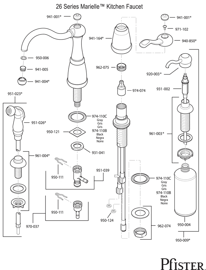 Faucets 34 Series Marielle For Price Pfister Faucet Parts Diagram with Price Pfister Marielle Parts Diagram
