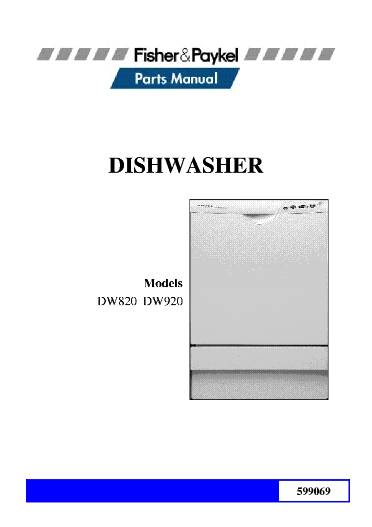 Fisher-Paykel Dw820 Dw920 Parts List Service Manual Download with regard to Fisher Paykel Dishwasher Parts Diagram
