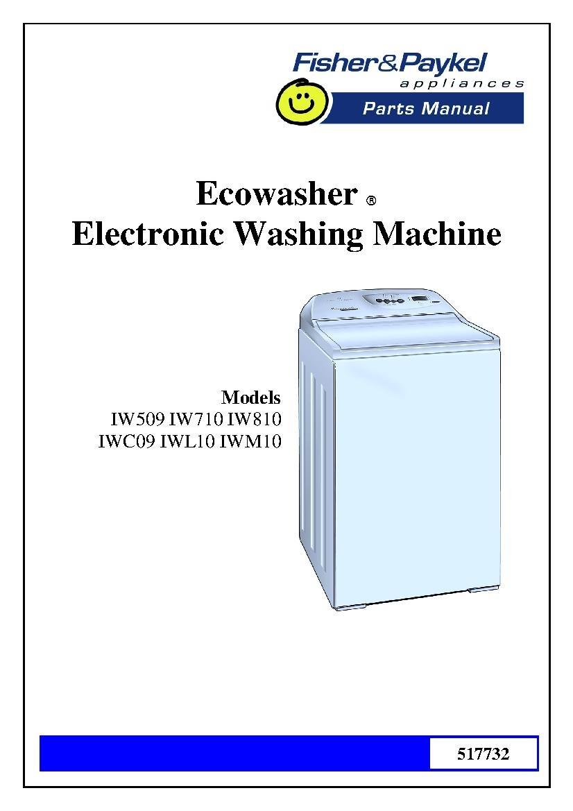 Fisher & Paykel Iw810 Parts Manual regarding Fisher Paykel Washing Machine Parts Diagram