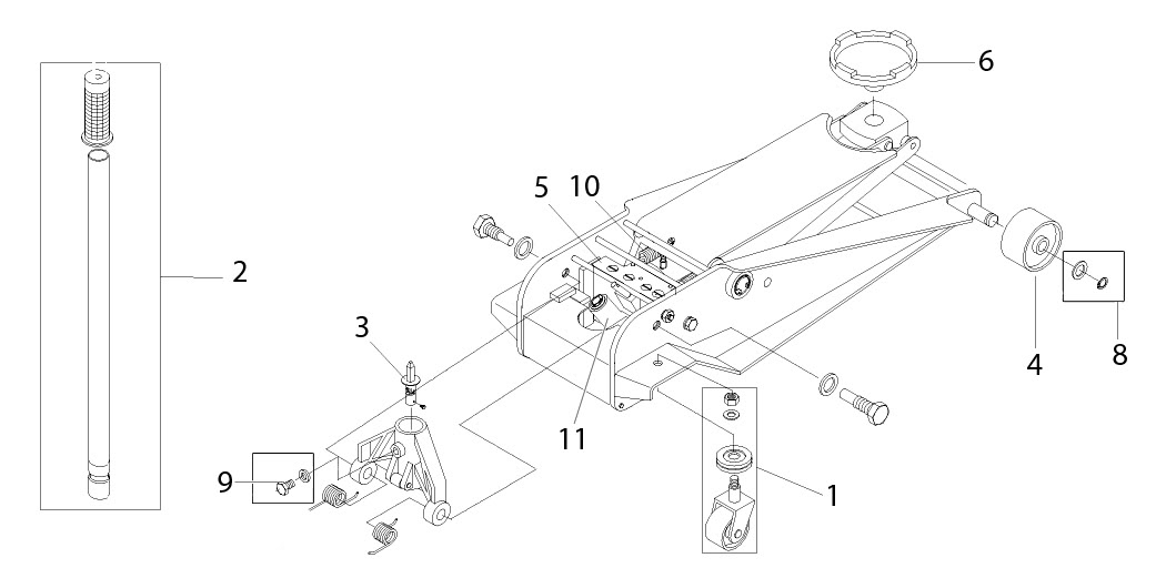 Walker Floor Jack Parts Diagram