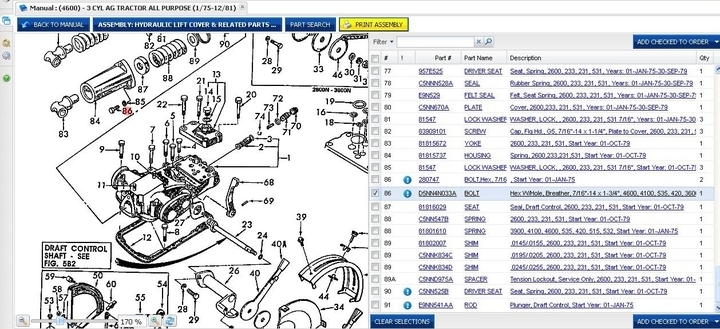 Ford 4600 Hydraulic Leak - Yesterday's Tractors throughout Ford 4600 Tractor Parts Diagram