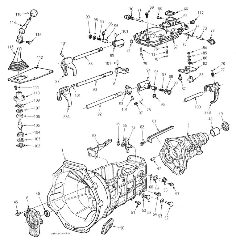 Ford 5 Speed Transmission regarding 2002 Ford Ranger Parts Diagram