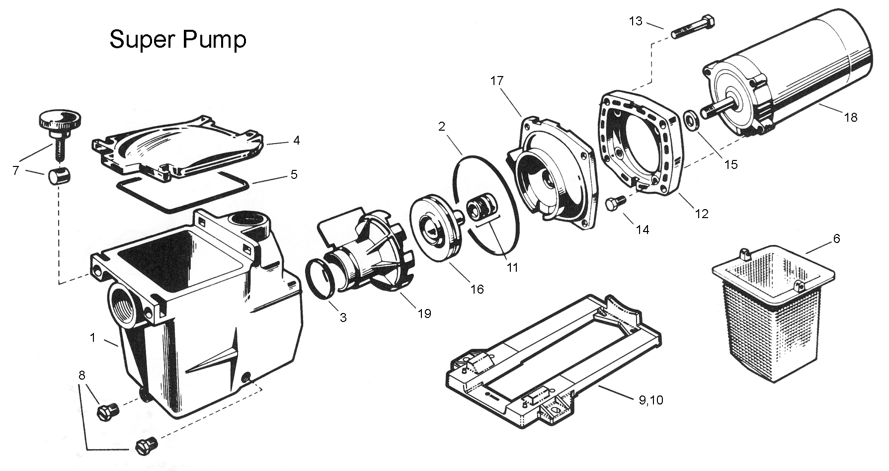 Free Shipping On Hayward Super Pump 2600X Parts inside Ao Smith Pool Pump Motor Parts Diagram