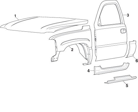 Front Steel Body Parts | 1999-07 Gmc Sierra | Lmc Truck for 2004 Gmc Sierra Parts Diagram