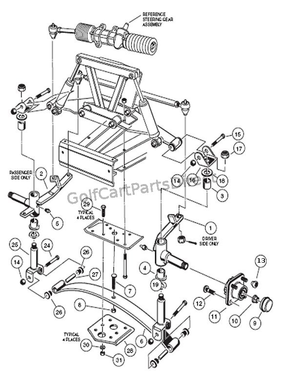 Front Suspension - Lower - Club Car Parts & Accessories with regard to Front End Suspension Parts Diagram