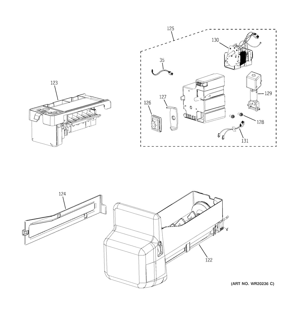 Ge Bottom Mount Refrigerator Parts | Model Gfsl6Kkxals | Sears with Ge Refrigerator Ice Maker Parts Diagram