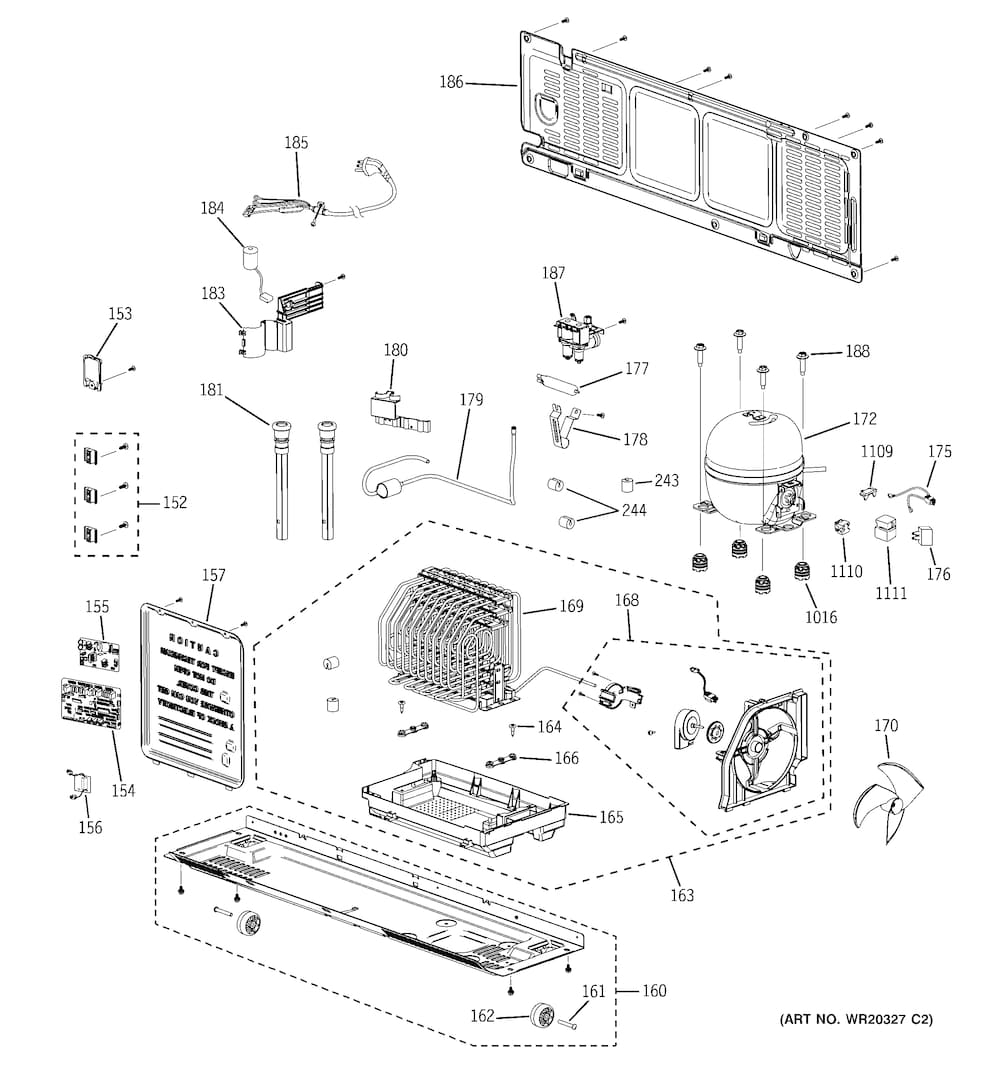 Ge Bottom Mount Refrigerator Parts | Model Pfsf6Pkxcww | Sears in Ge Refrigerator Ice Maker Parts Diagram