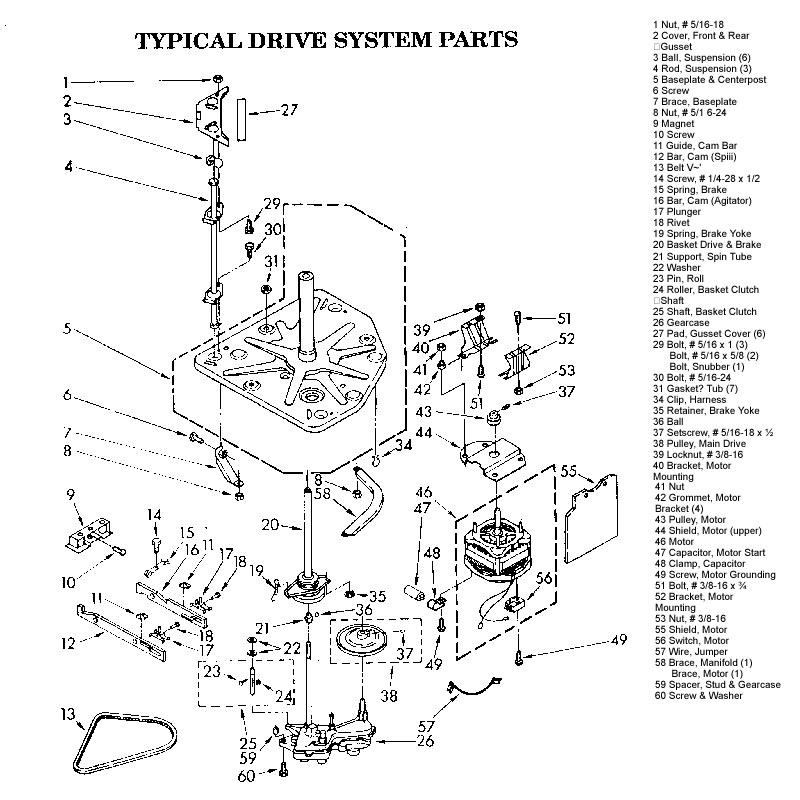 parts diagram for kenmore washer