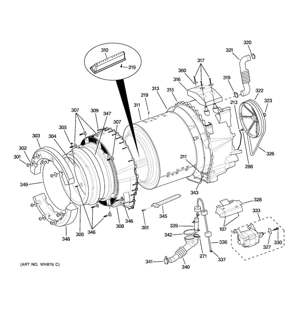 Ge Washer Parts | Model Wcvh6800J0Ms | Sears Partsdirect for Ge Front Load Washer Parts Diagram