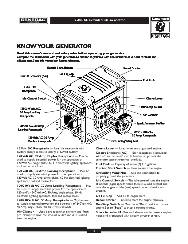Generac 7500Exl Generator Owners Manual pertaining to Generac Portable Generator Parts Diagram