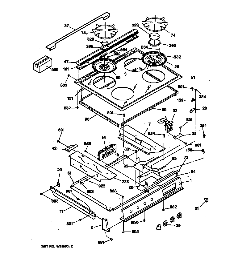 General Electric Jgsp31Wetww Gas Range Timer - Stove Clocks And within Ge Electric Range Parts Diagram