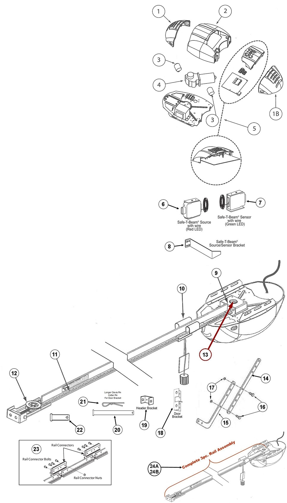 Genie 1022-1024-1042 Parts Schematic with Genie Garage Door Opener Parts Diagram