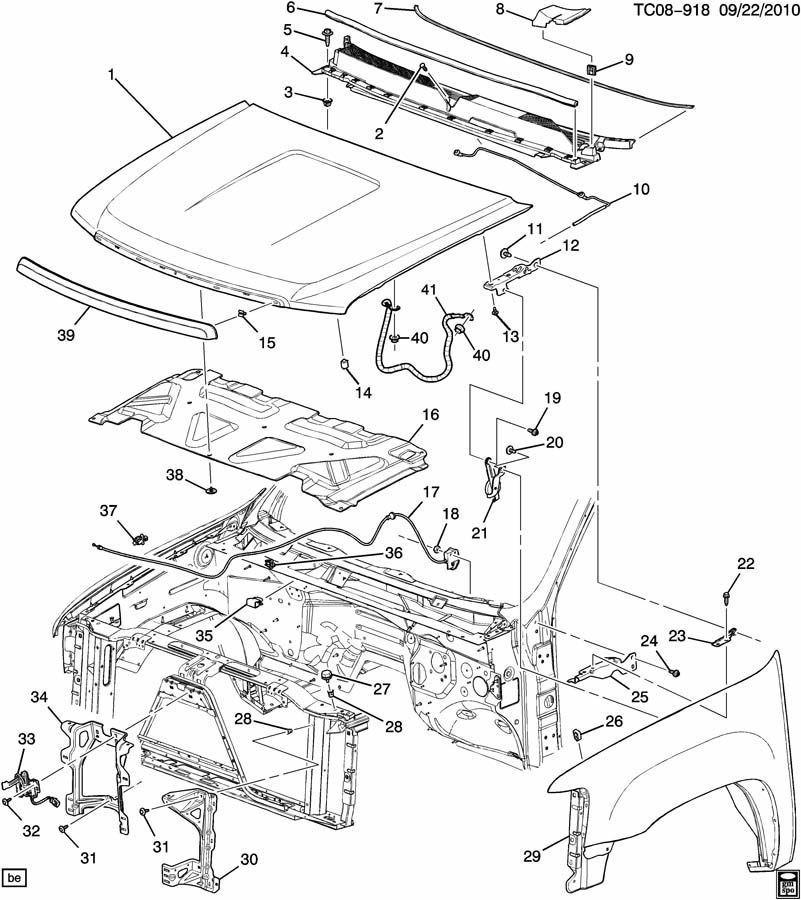 Gm 20763454 Hood Latch & Switch/sensor 2007-2014 Silverado Sierra with regard to 2007 Chevy Tahoe Parts Diagram