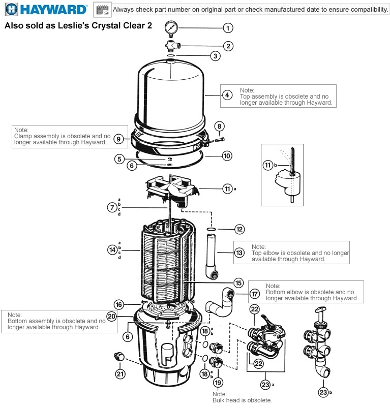 Hayward Micro-Clear De Filter Parts (Also Sold As Leslies Crystal with Hayward De Filter Parts Diagram