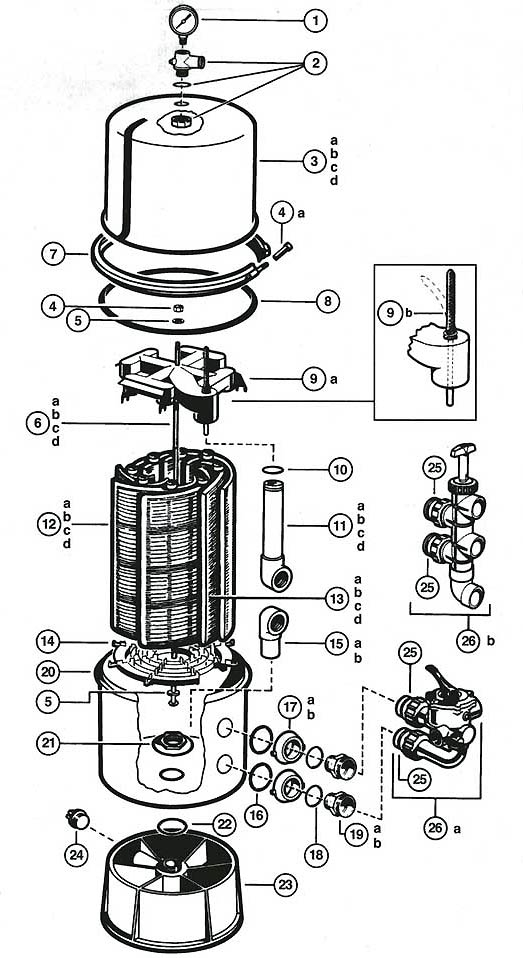 hayward de filter parts diagram