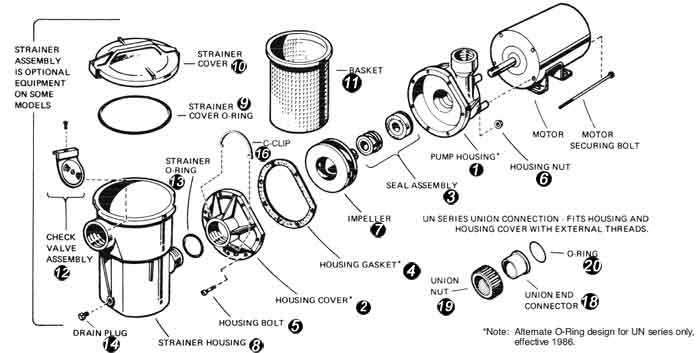 Hayward Power-Flo Sp1500 Pump Replacement Parts with regard to Intex Pool Pump Parts Diagram