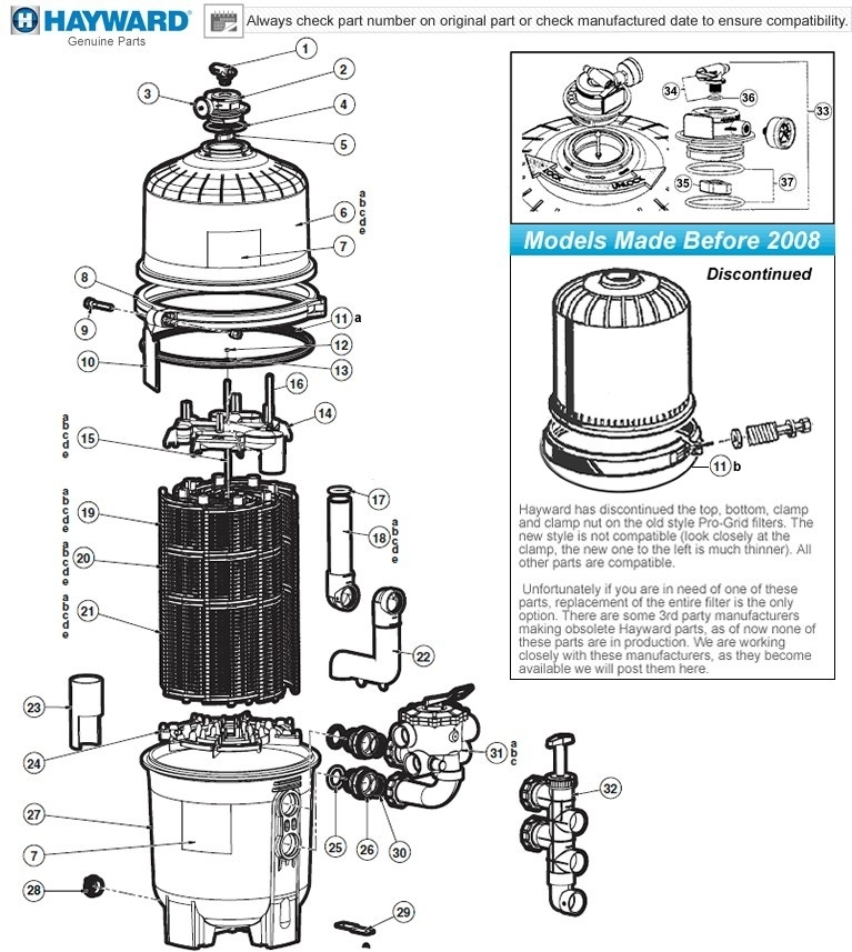Hayward Pro-Grid Parts De2420, De3620, De4820, De6020, De7220 with Hayward De Filter Parts Diagram