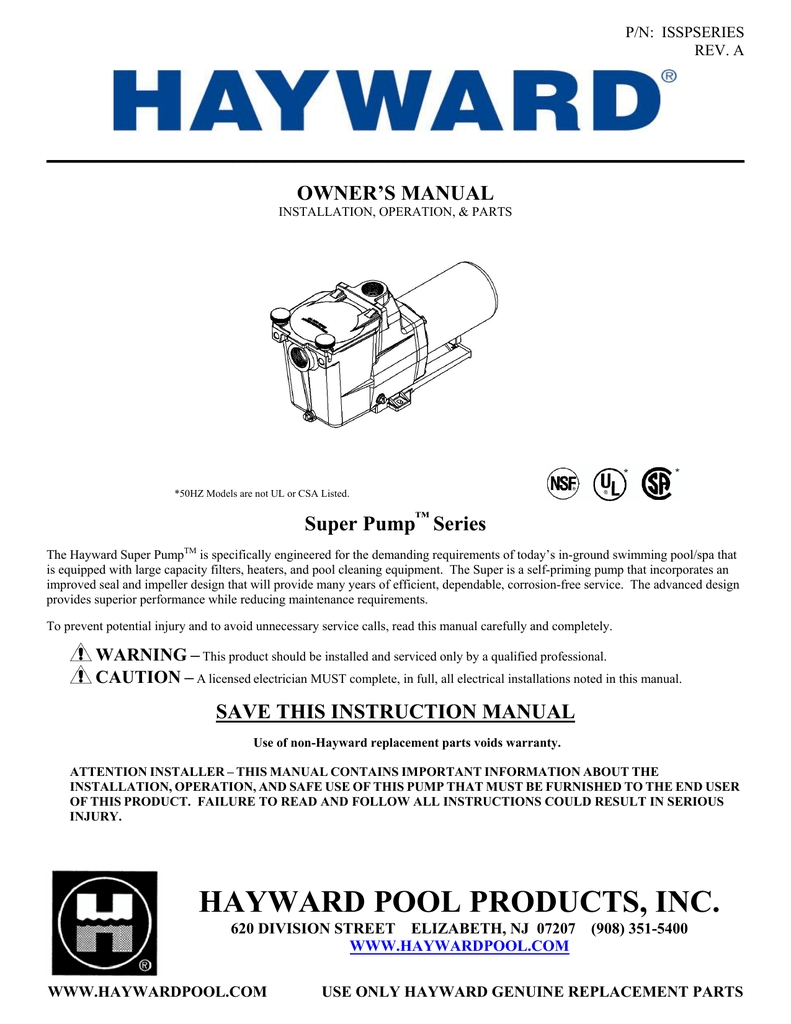 Hayward Super Pump™ Series for Hayward Super Pump 2 Parts Diagram