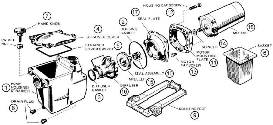 Hayward Super Pump Sp-1600 Series Pool Pump Parts - Discount Parts pertaining to Hayward Pool Pump Parts Diagram