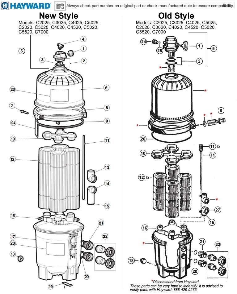 Hayward Swimclear C2020/c2025, C3020/c3025, C4020/c4025, C5020 regarding Hayward Pool Filter Parts Diagram