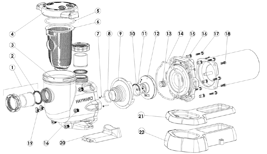 Hayward Tristar Pool Pump - Sp3207, Sp3210, Sp3215, Sp3220, Sp3230 with regard to Hayward Pool Pump Parts Diagram