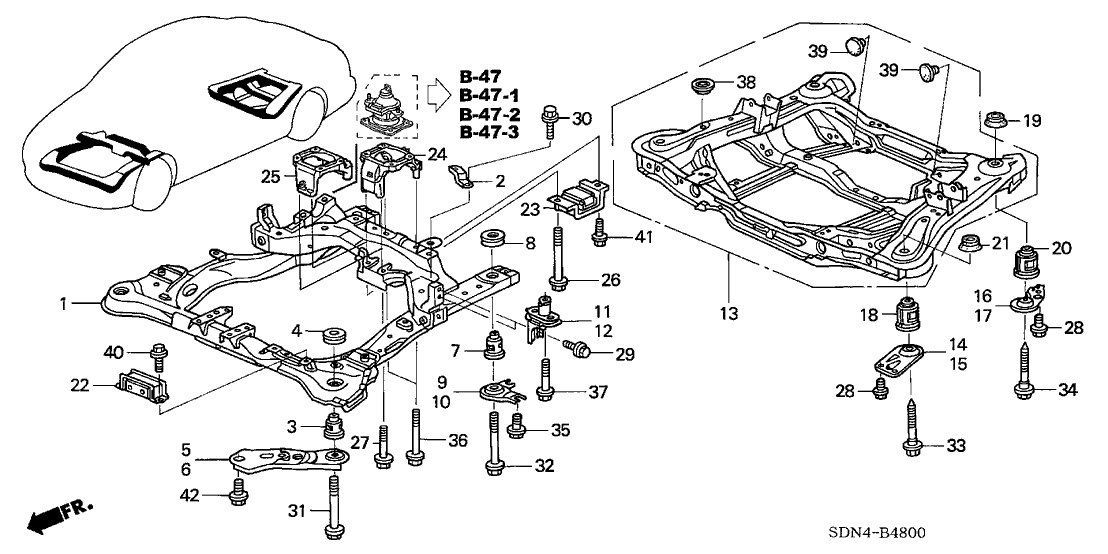 Honda Accord 2 Door Exl Kl 5At Front Sub Frame - Rear Beam with 2005 Honda Accord Parts Diagram