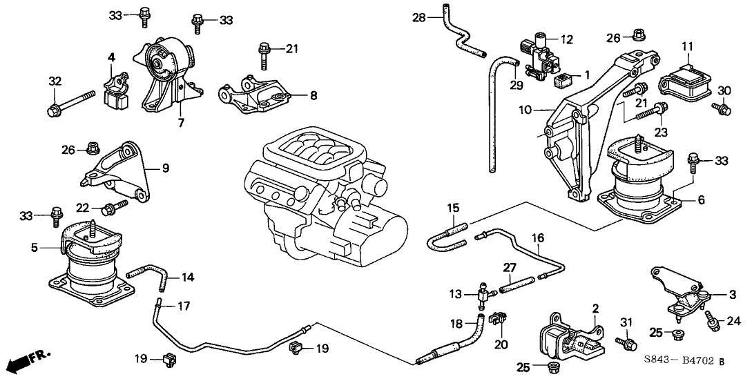 Honda Accord 2 Door Lx (V6) Ka 4At Engine Mount (V6) inside 2001 Honda Accord Parts Diagram
