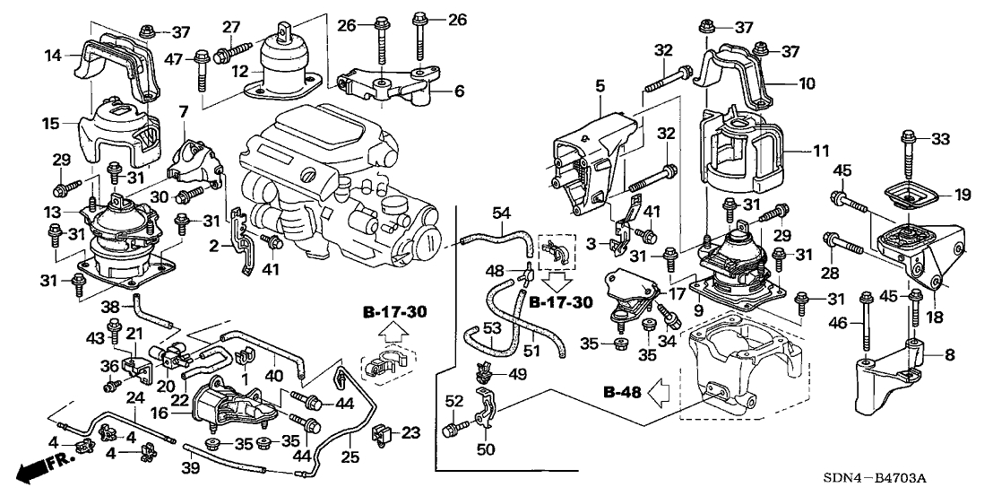 Honda Accord 2 Door Lx V6 Kl 5at Engine Mounts V6 Intended For 2004 Honda Accord Parts Diagram on car door hinge diagram