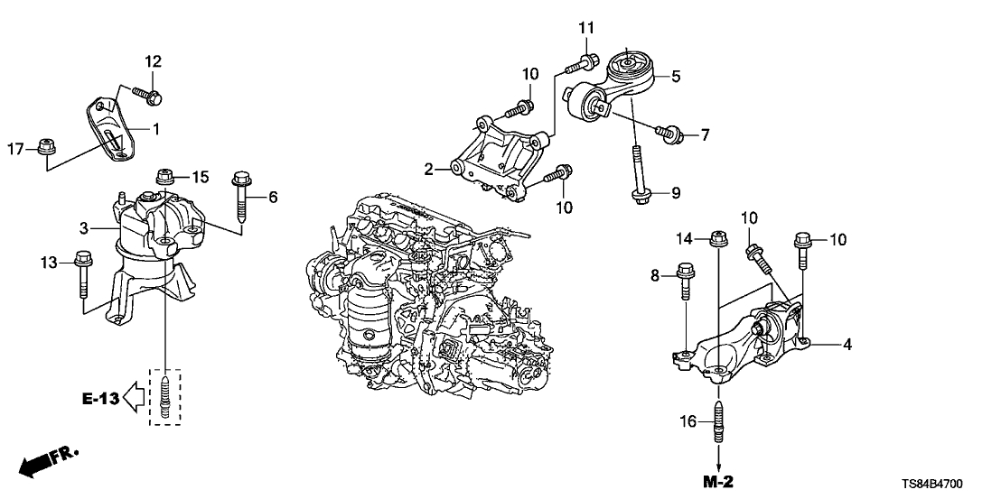 Honda Civic 2 Door Lx Ka 5Mt Engine Mounts (1.8L) with 2012 Honda Civic Parts Diagram