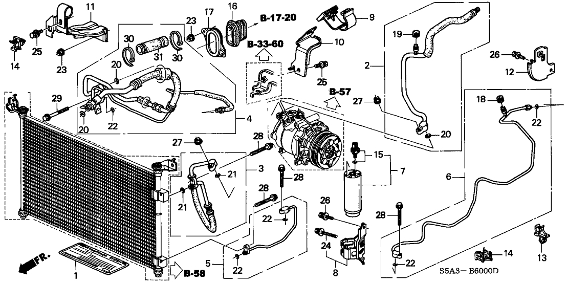 Honda Civic 4 Door Dx (A/c) Ka 5Mt A/c Hoses - Pipes for 2002 Honda Civic Parts Diagram