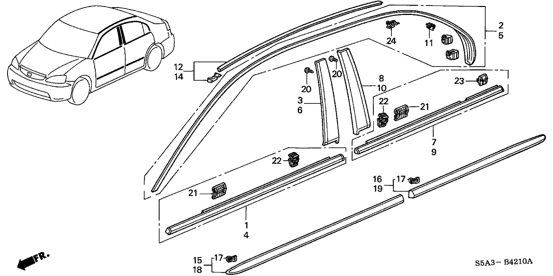Honda Civic 4 Door Dx Ka 5Mt Molding - Protector regarding 2001 Honda Civic Parts Diagram