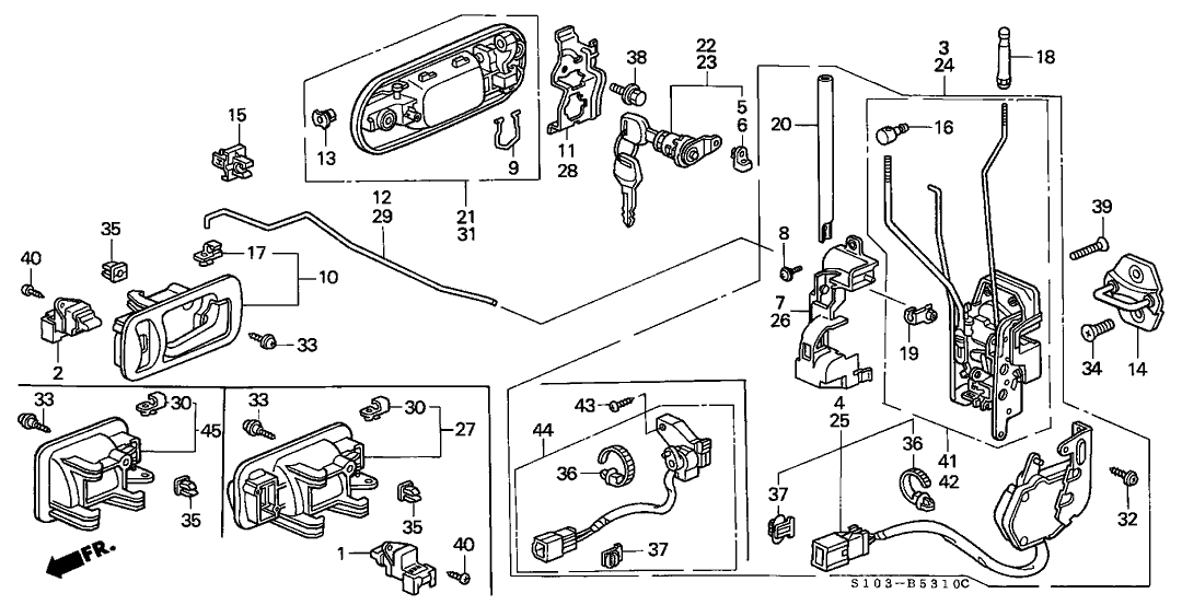 Honda Cr-V 5 Door Lx (2Wd) Kl 4At Front Door Locks throughout 1998 Honda Crv Parts Diagram