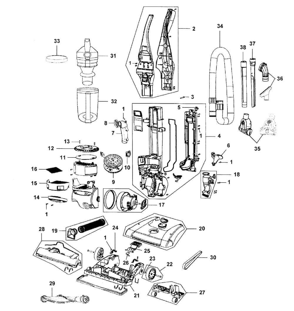 Hoover Vacuum Parts | Model Uh70820 | Sears Partsdirect with regard to Hoover Windtunnel T Series Parts Diagram