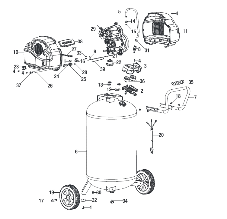 Husky C331H Air Compressor Parts with Husky Air Compressor Parts Diagram