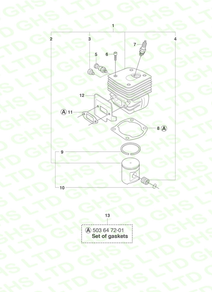 Husqvarna 372Xp, Epa Cylinder & Piston Assembly within Husqvarna 372Xp Chainsaw Parts Diagram