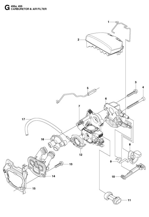 Husqvarna 455 Rancher Chainsaw Carburetor & Air Filter Spare Parts intended for Husqvarna 455 Rancher Parts Diagram