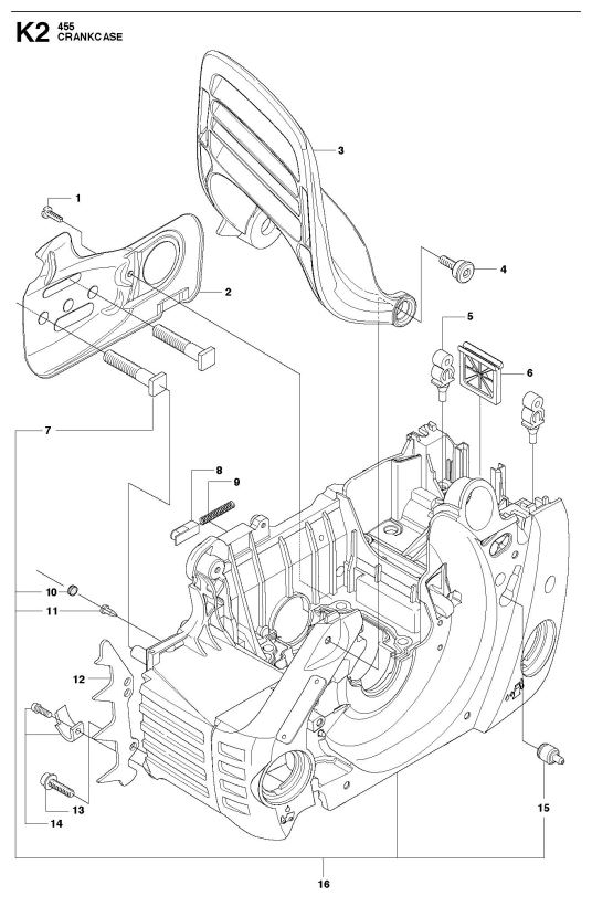 Husqvarna 455 Rancher Chainsaw Crankcase Spare Parts Diagram throughout Husqvarna 455 Rancher Parts Diagram