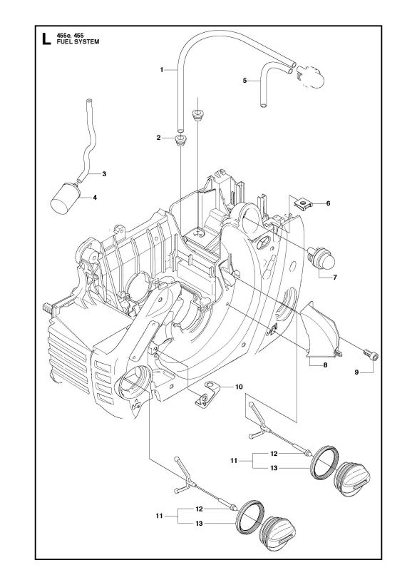 Husqvarna 455 Rancher Chainsaw Fuel System Spare Parts Diagram with Husqvarna 455 Rancher Parts Diagram