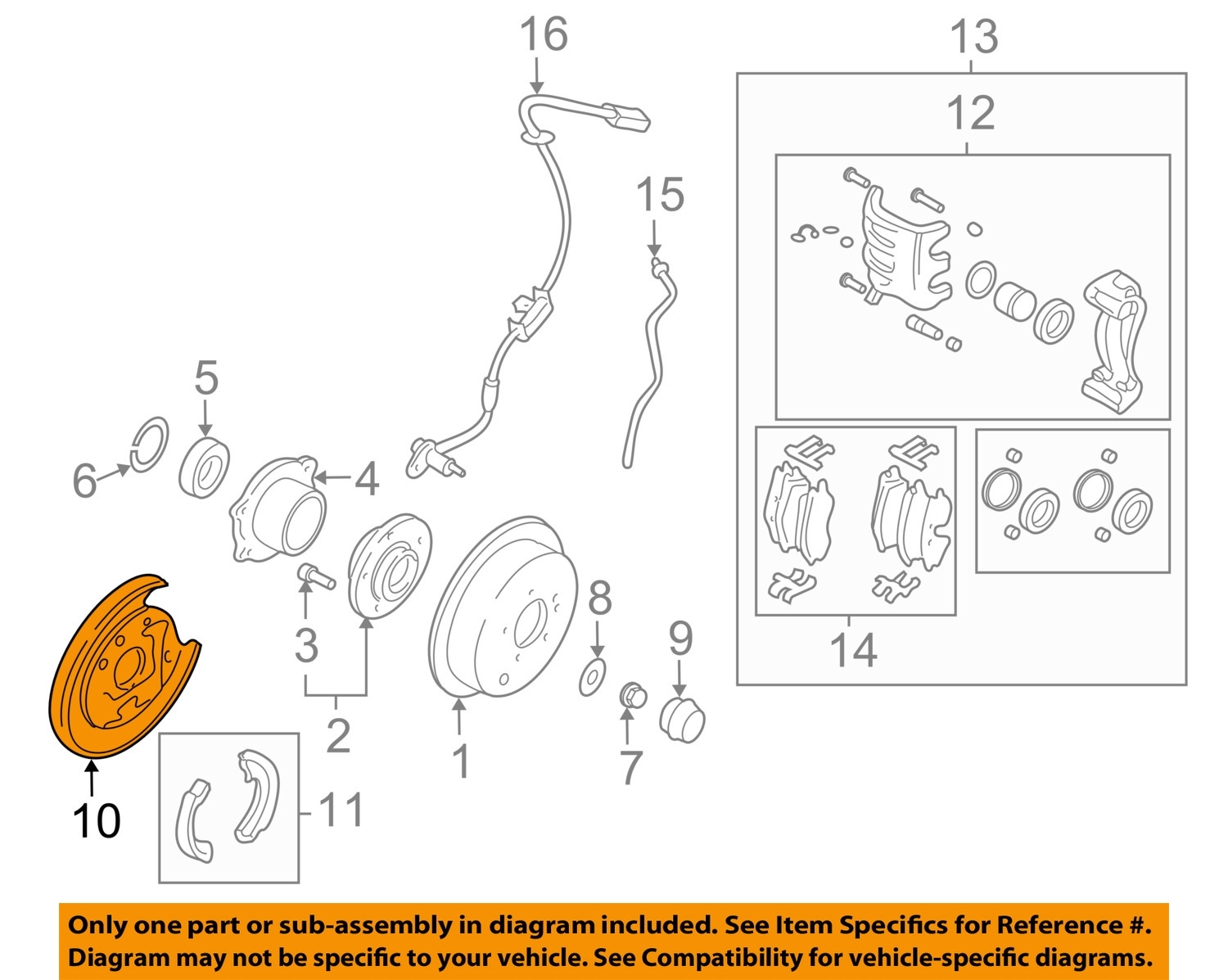 Hyundai Oem Santa Fe Rear Brake-Backing Plate Splash Dust Shield with 2002 Hyundai Santa Fe Parts Diagram