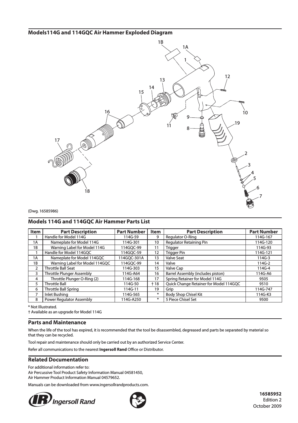 Ingersoll-Rand 114G User Manual | 2 Pages regarding Ingersoll Rand Air Tool Parts Diagrams