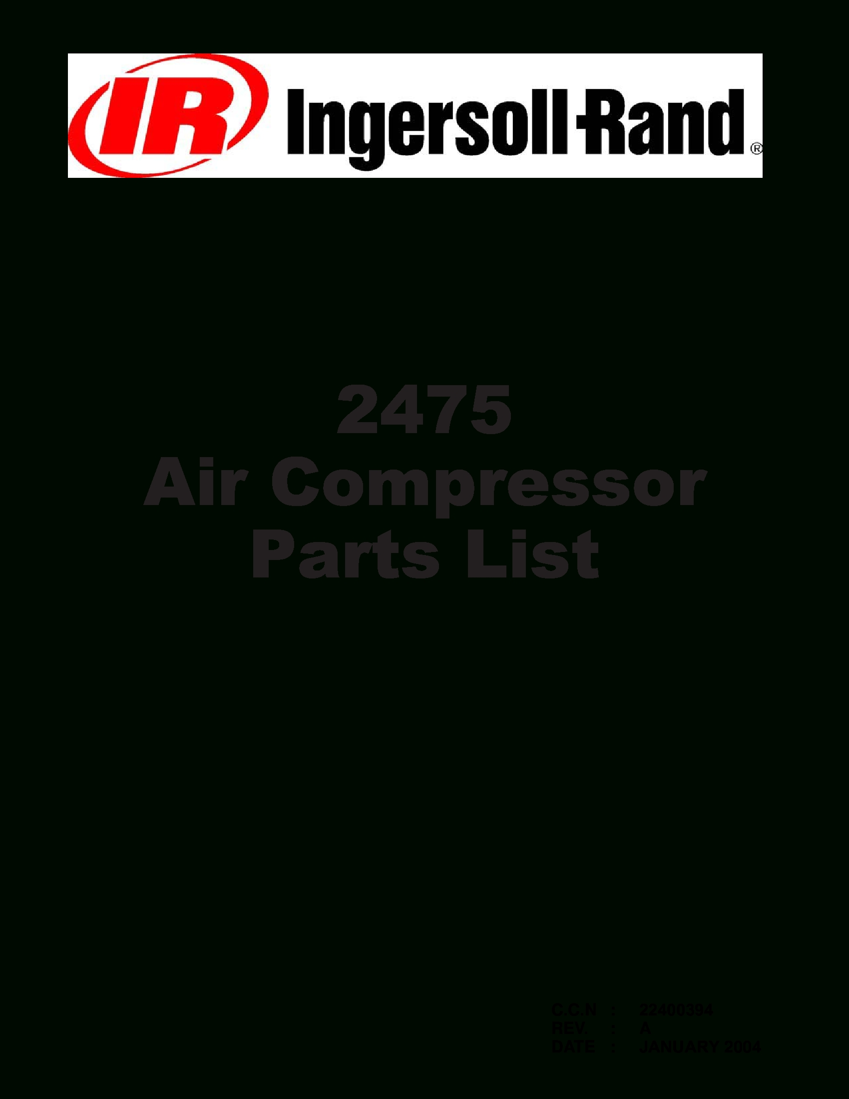 Ingersoll Rand 2475 Parts Manual - Documents pertaining to Ingersoll Rand Air Compressor Parts Diagram