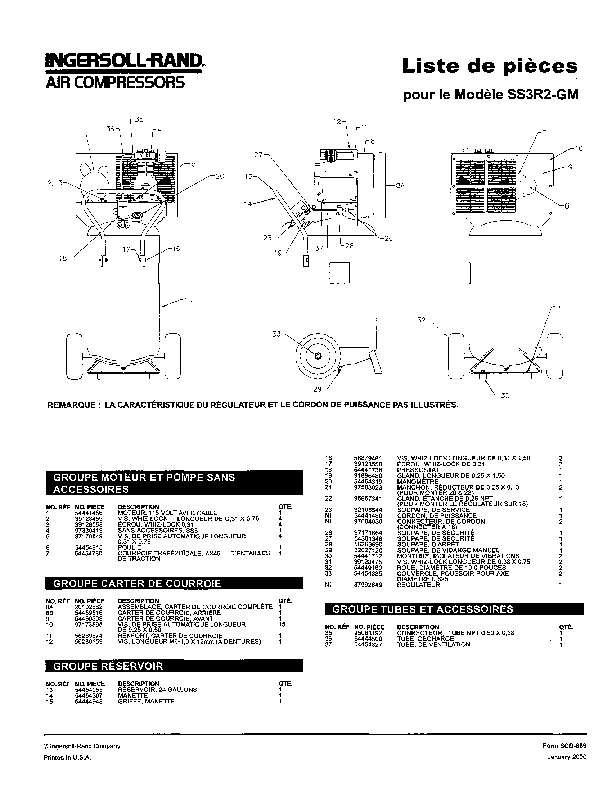 Ingersoll Rand Ss3R2 Gm Air Compressor Parts List Manual inside Ingersoll Rand Compressor Parts Diagram