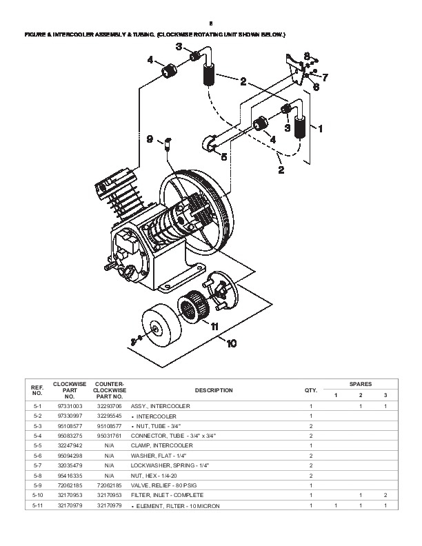 Ingersoll Rand T30 2340 Two Stage Air Compressor Parts List Manual for Ingersoll Rand Compressor Parts Diagram